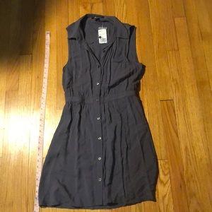 Grey Button Down Open Back Dress